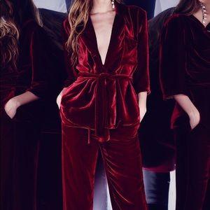 Ezgi Cinar red velvet silk pants, size 1 (xs fit)